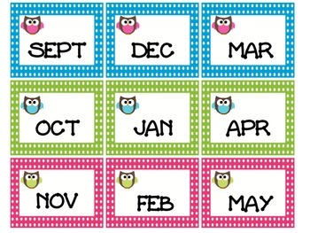 Monthly labels owl theme