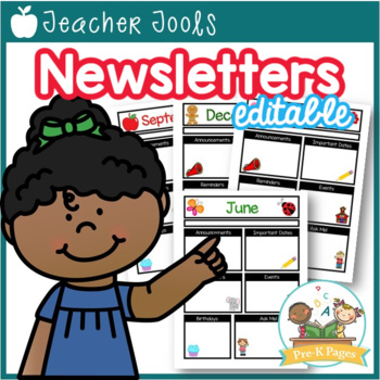 Monthly or Weekly Class Newsletter Templates with Editable Text Boxes