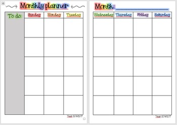Monthly planner (Teacher binder FREEBIE)