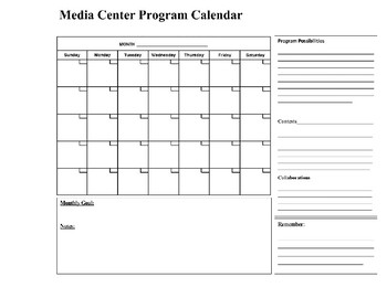 Monthly planner for Media Specialist/Teacher Librarian