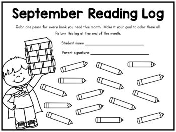 Monthly reading logs for homework - SUPER CUTE!