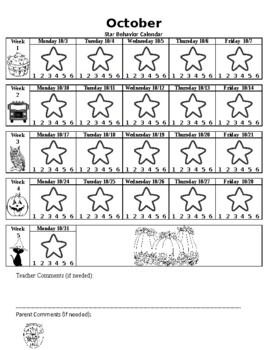 Monthly star charts to go with behavior management program