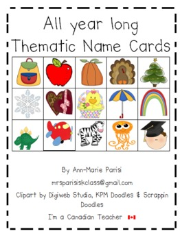 Monthly thematic name cards