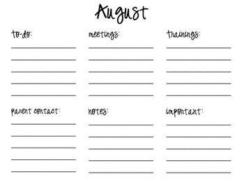 Monthly to-do, notes, meetings list