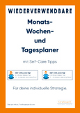 Monthly-weekly-daily-Organizer for German Learners and Teachers, reusable