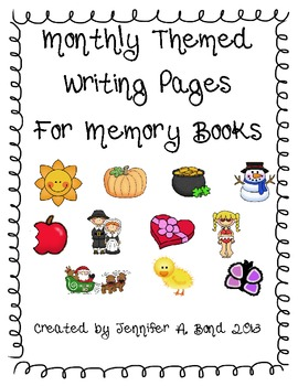Monthly writing pages for Memory Books