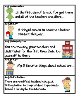 Monthly writing prompts for the whole school year