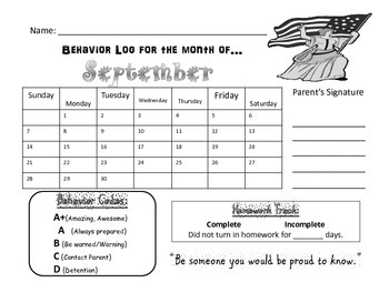 Monthly/Calendar behavior Log (2014-2015 School Year)