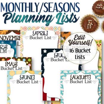 Monthly/Seasonal Bucket List
