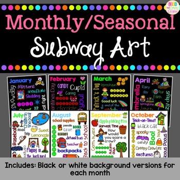 Monthly/Seasonal Subway Art