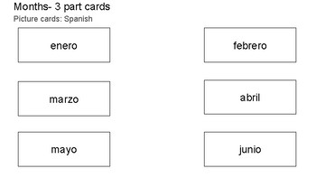 Months 3 part cards in Spanish and English
