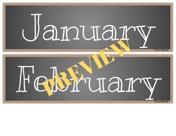 Months Burlap and Chalkboard Calendar Heading