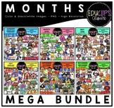 Months Clip Art Mega Bundle  {Educlips Clipart}