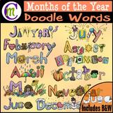 Months Clipart   Doodle Words