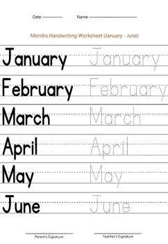 months of the year worksheet january june by handwritables tpt. Black Bedroom Furniture Sets. Home Design Ideas