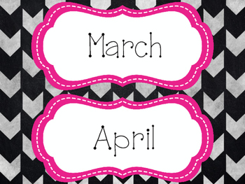 Calendar Labels (Pink, Black and Gray)
