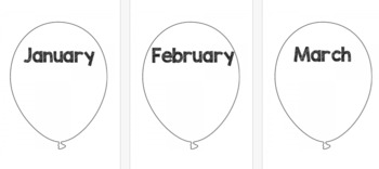 Months Of The Year Balloons *Black and White* {FREE}