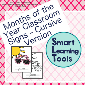Months Of The Year Classroom Signs/Posters - Cursive Version
