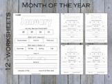 Months Of The Year  Worksheets, Kindergarten Worksheets, T-215