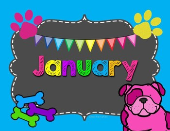 Months Posters and Labels Bulldog Theme