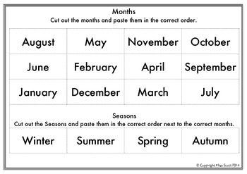 Months & Seasons Ordering Cut and Paste