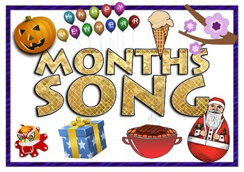 Months Song - American Holidays includes Mp3 Flashcards Sentence Strips
