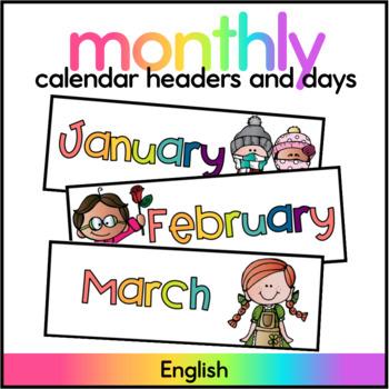 Months and Days Calendar Set