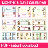 Months and Days Cards Bundle Instant Download PDF; Prescho