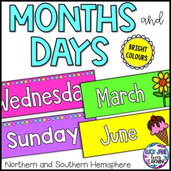 Months and Days Display and Header - Bright Colors Bundle