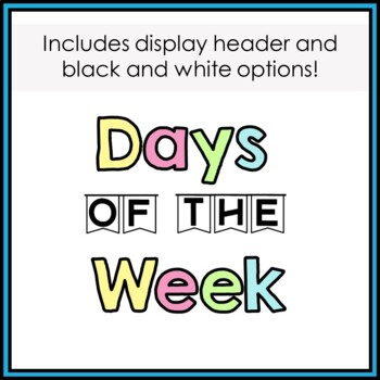Months and Days Display and Header - Pastel Colors Bundle