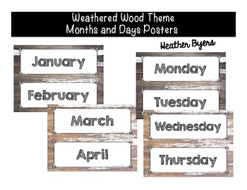 Months and Days Posters Weathered Wood Theme