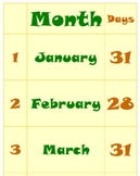 Months and Days Wall Chart - Calendar Reference Poster