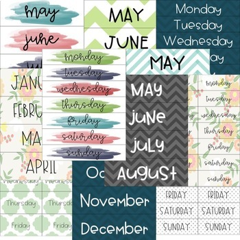 Calendar Months and Days of the Week Cards