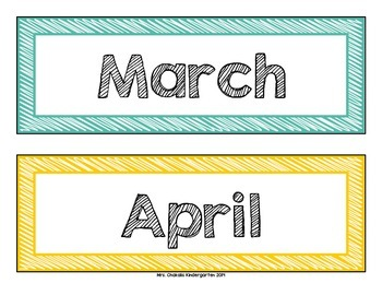 Months and Days of the Week Headers