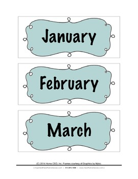 Months and Days of the Week Labels