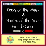 Days of the Week and Months of the Year Word Wall Words
