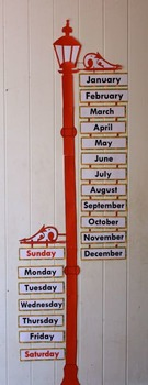 Months and Days poster vintage style street sign