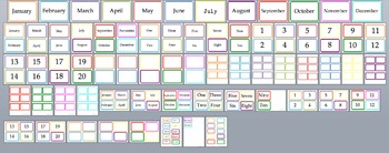 Months and Numbers + Blank Cards Multiple Sizes Classroom Display