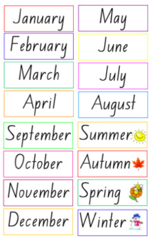 Months and Seasons Labels Freebie
