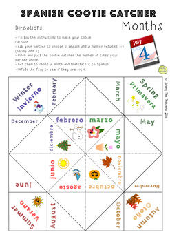 Months and Seasons in Spanish Cootie Catcher Game