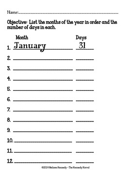 Months, Years, Calendar {Write the Date, Months in Order, Days in Month & MORE!}