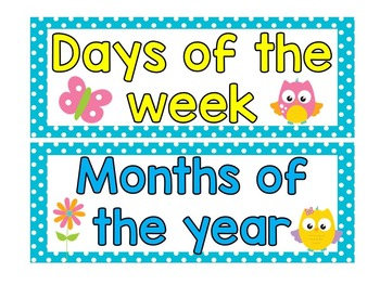 Months and days of the week - Owl theme