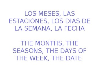 Months, days, date, seasons in Spanish PowerPoint