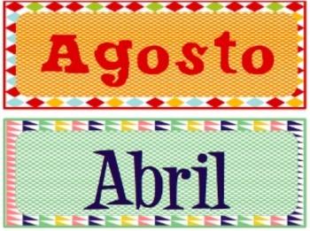 Months for SPANISH Classroom Calendar