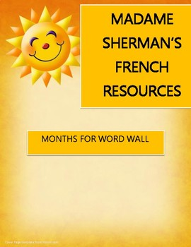 Months for Word Wall