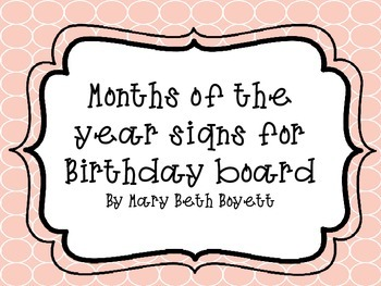 Months for a Birthday Board