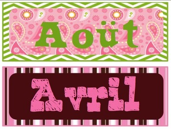Months for a FRENCH Classroom Calendar