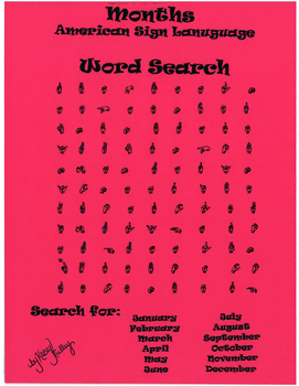 Months in American Sign Language Word Search