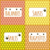 Months labels in lithuanian language. Honey patterns