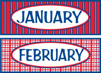 Months of the Year - Americana/ Red, White & Blue